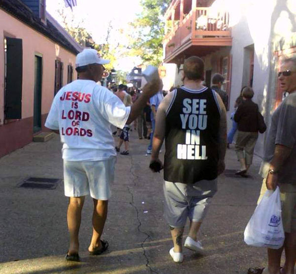 Funny T-Shirt Duel ~ Jesus is Lord of Lords See You in Hell