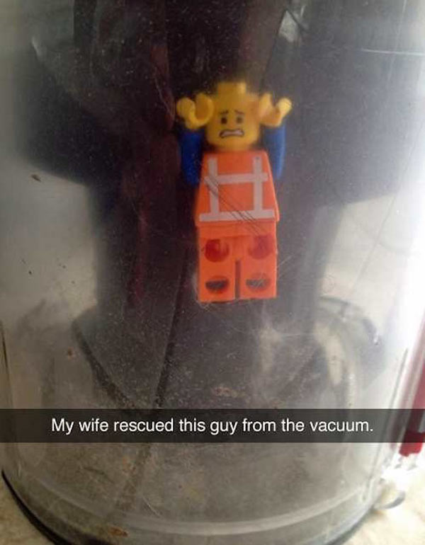 Lego humor stuck in vacuum ~ funny snapchats
