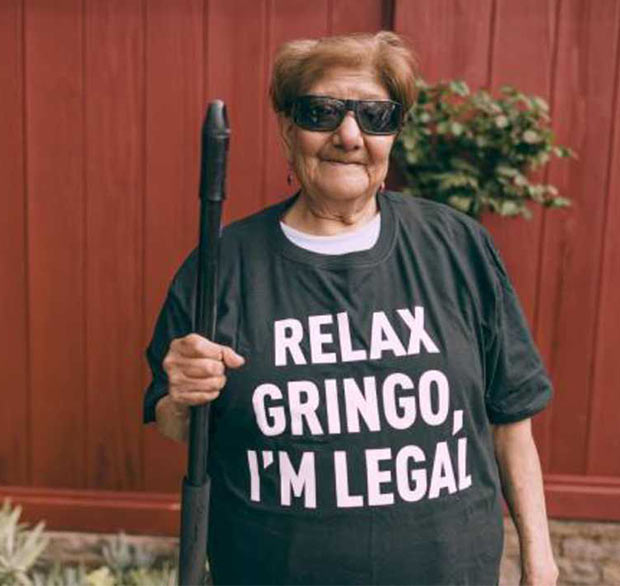 Latin in funny T-shirt, Relax Gringo, I'm Legal