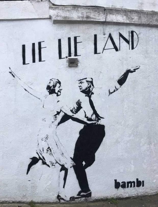 Donald Trum Li Lie Land Mural