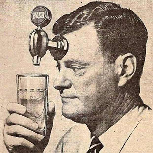 vintage pic of man with beer tap forehead ~ funny pics