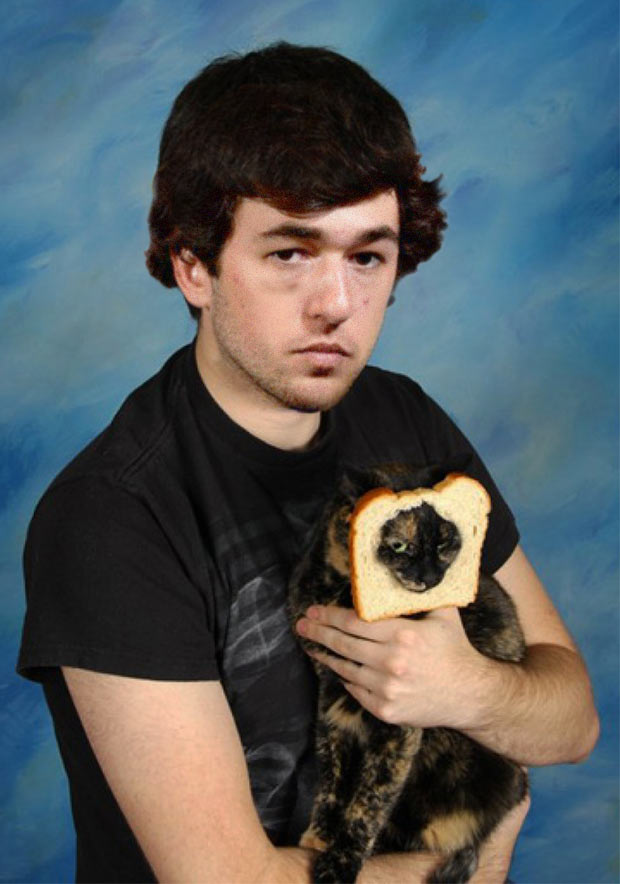 10th grader Chase Elliot posing with his feline pal Sir Prince Robert ~ funny nascar driver yearbook photos