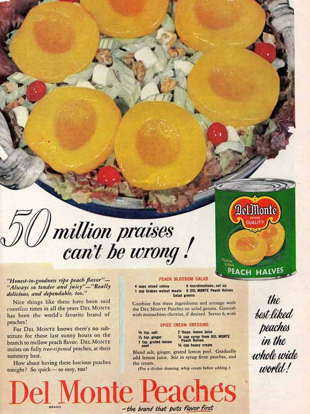 In 1960, 3 cans of Del Monte peaches would have cost you dollar