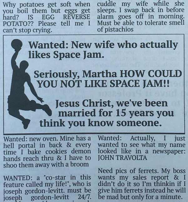 One can only hope... Space Jam wife wanted ad ~ 33 funny pics and memes
