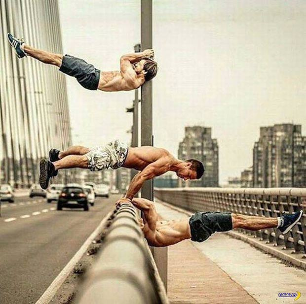 I can do that... lol! men working out on bridge ~ 35 Funny Pics & Memes