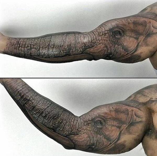 Awesome forearm elephant tattoo