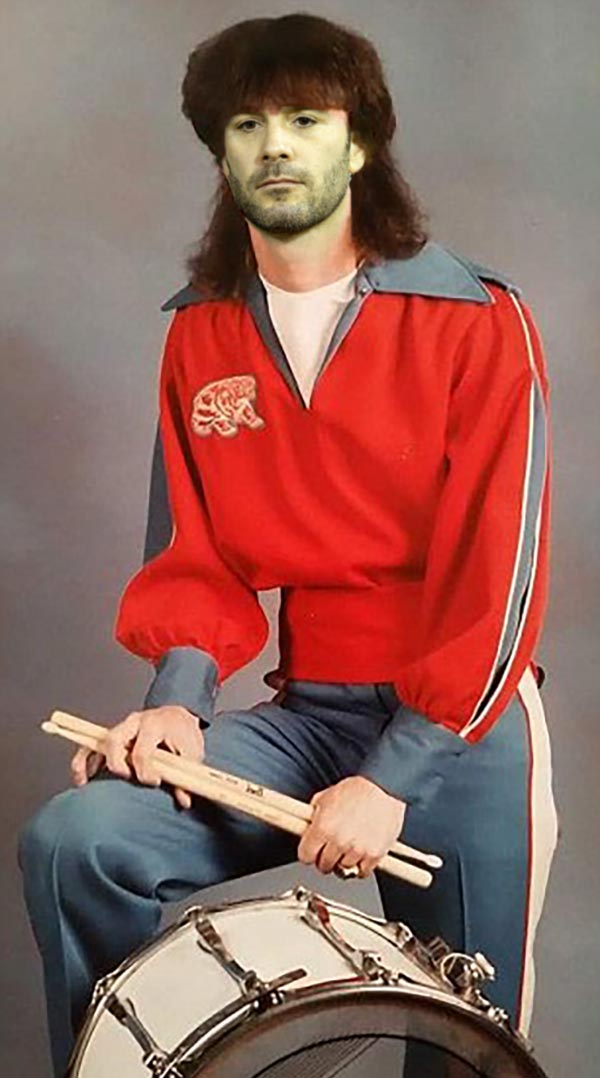 Before beating drivers t the finish line, band geek Jimmie Johnson pounded the drums for Granite Hills High ~ funny nascar yearbook photos