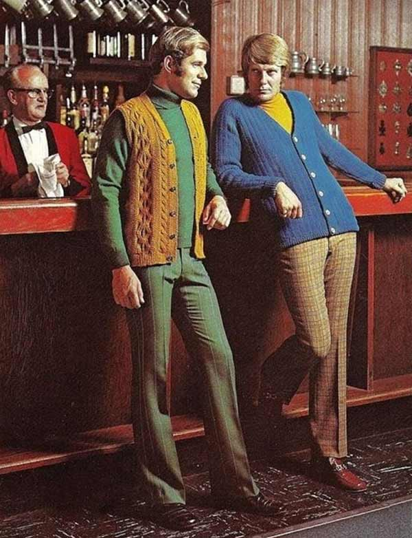 """""""You don't say..."""" crazy knitted 1970s mens fashions"""