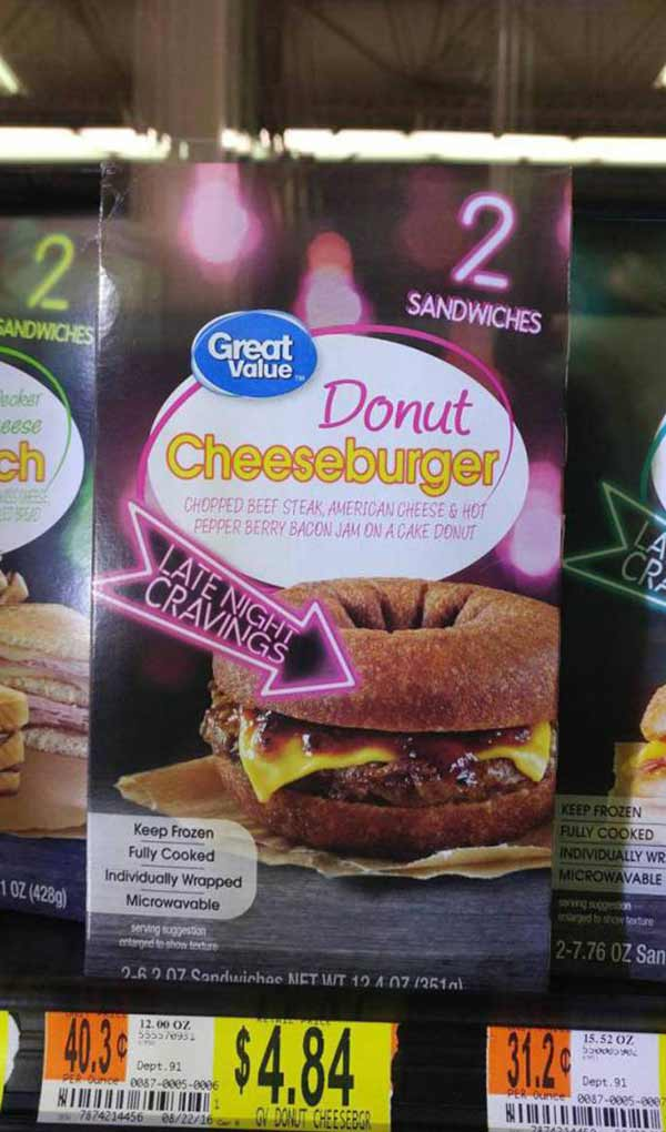 Perfect Late Night Snack! Microwavable Donut Cheeseburger ~ 35 Funny Pics & Memes