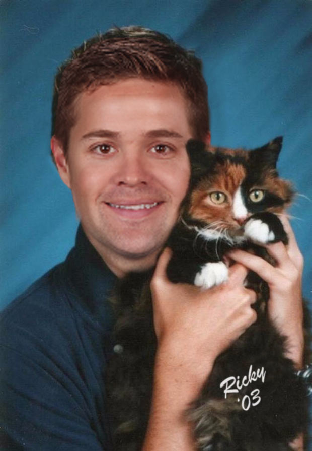 Rickey Stenhouse, jr., 10th grade, with his best bud Mittens ~ funny nascar yearbook photos