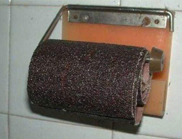 Ouch! For the Touch Jobs! sandpaper toilet paper