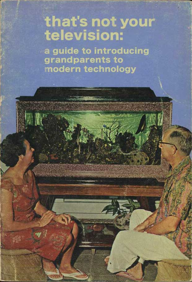 Funny Vintage Booklet ~ A guide to introducing your grandparents to modern technology ~ Old couple staring at aquarium ~