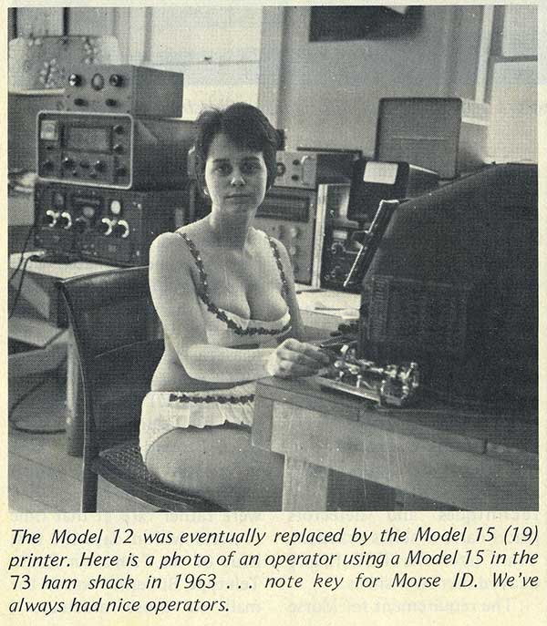 Sexist photo and caption from vintage 1963 HAM Radio / Morse Code Brochure. Woman operator in bikini