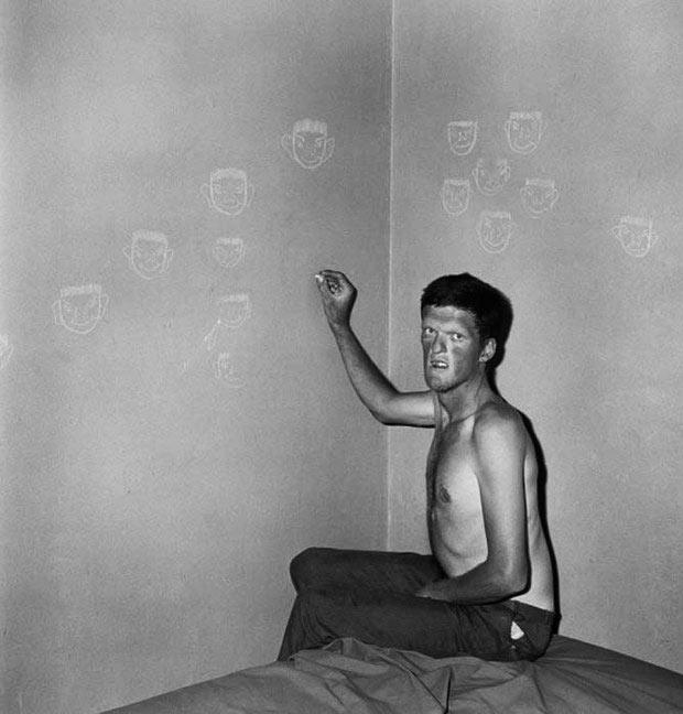 Asylum patient drawing faces, 1960s ~ old creepy photos