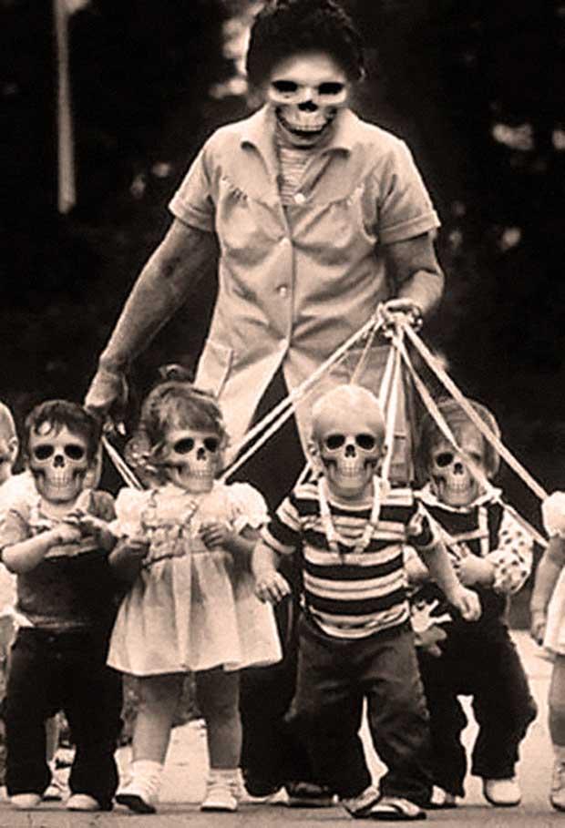 skeleton woman walking skull babies ~ old creepy photos