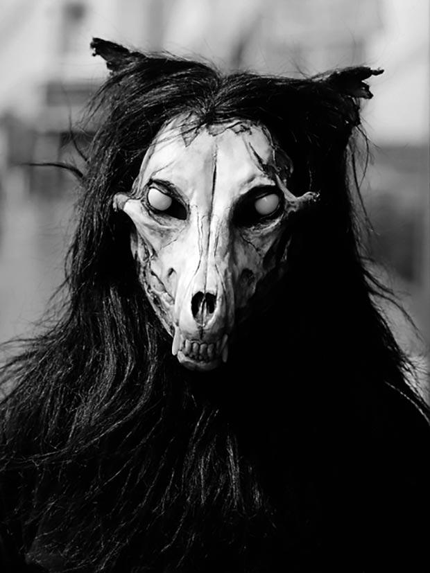 scary rituals ~ hirse skull mask ~ old creepy photos