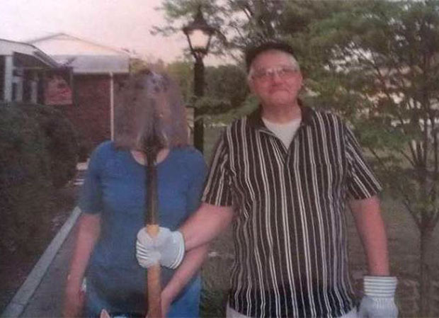 American Gothic in Modern Day Suburbia... ~~ 37 funny pics & memes family snapshot shovel blocking wife's face
