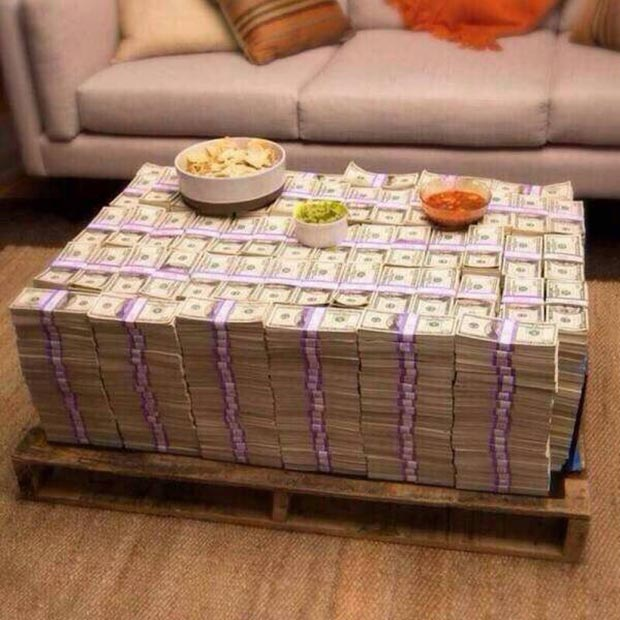 Ya'd think they could do a little better than Tostitos and jarred salsa.... ~~ 37 funny pics & memes coffee table made from $100 bills