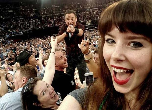 The Boss of Photobombs... ~~ 37 funny pics & memes... Bruce Springsteen concert