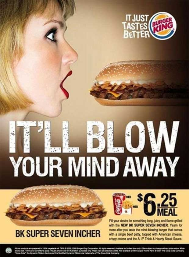 The BK Super 7-incher… It's really only 5. All men lie. ~ Sexist ads vintage and new ~ Burger King