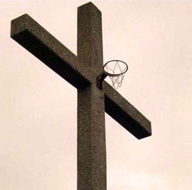 Jesus, nothing but net...  ...crucifix basketball hoop