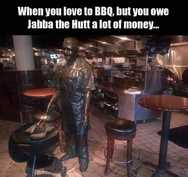 Hate it when that happens! ... funny statue, man barbecuing, Hans solo Jabba carbonate Star Wars
