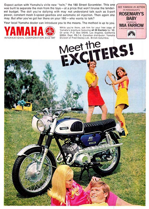 Vintage Yamaha Motorcyle Ad ~ 1970s~ Meet the Exciters