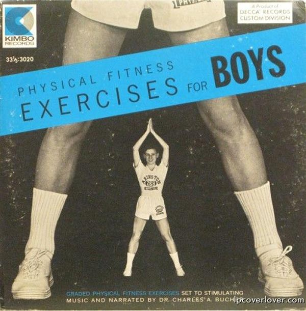 A favorite of Jerry Sandusky, Physical Fitness Exercises for Boys Setr to Stimulating Music ~~ Funny Bad Album Covers