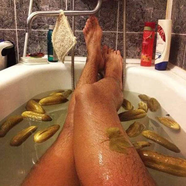 Taking a bath with pickles. That can be incredibly satisfhying.