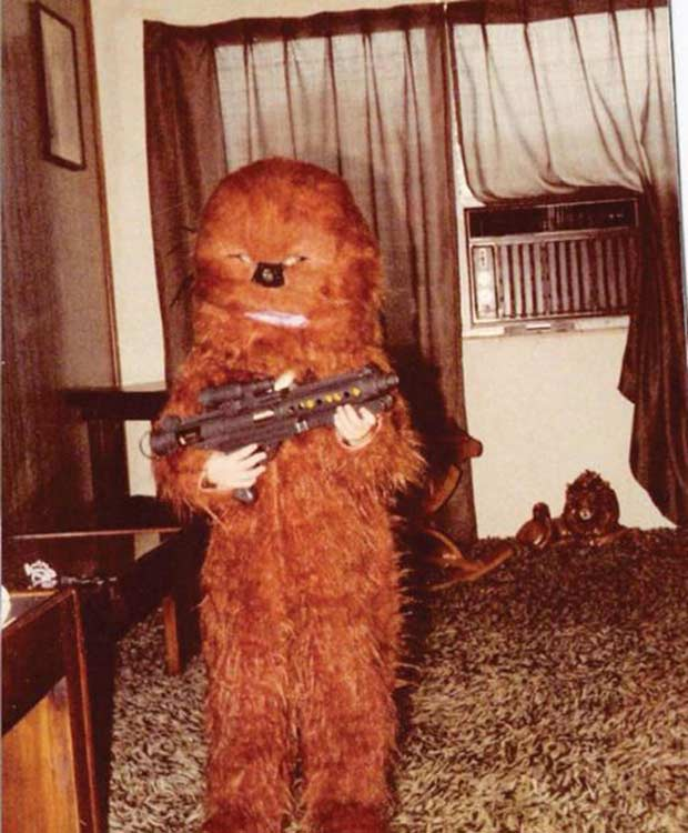vintage 1970s Halloween pic ! kid in homemade Chewbacca costume