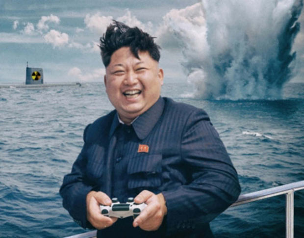 Kim Jong-un with video game controller exploding bombs in ocean
