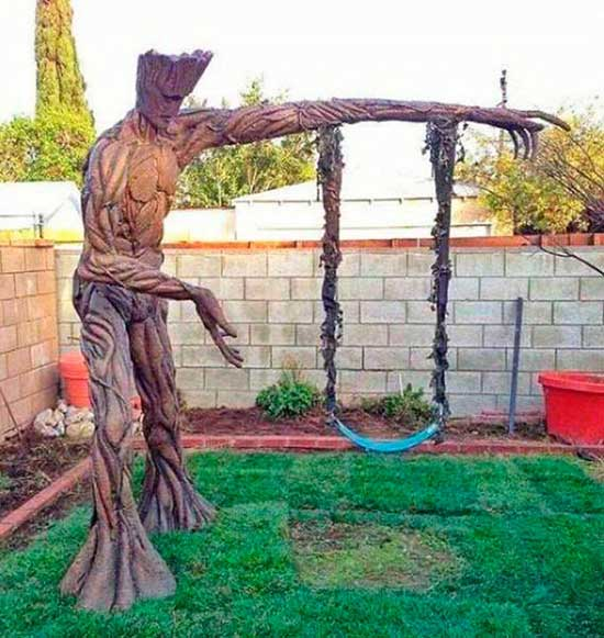 Awesome backyard Groot tree swing