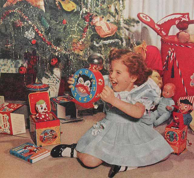 Fuck yeah! A Cat Clock! ~ Funniest Family Christmas Photos ~ vintage 1960s excited girl opening presents