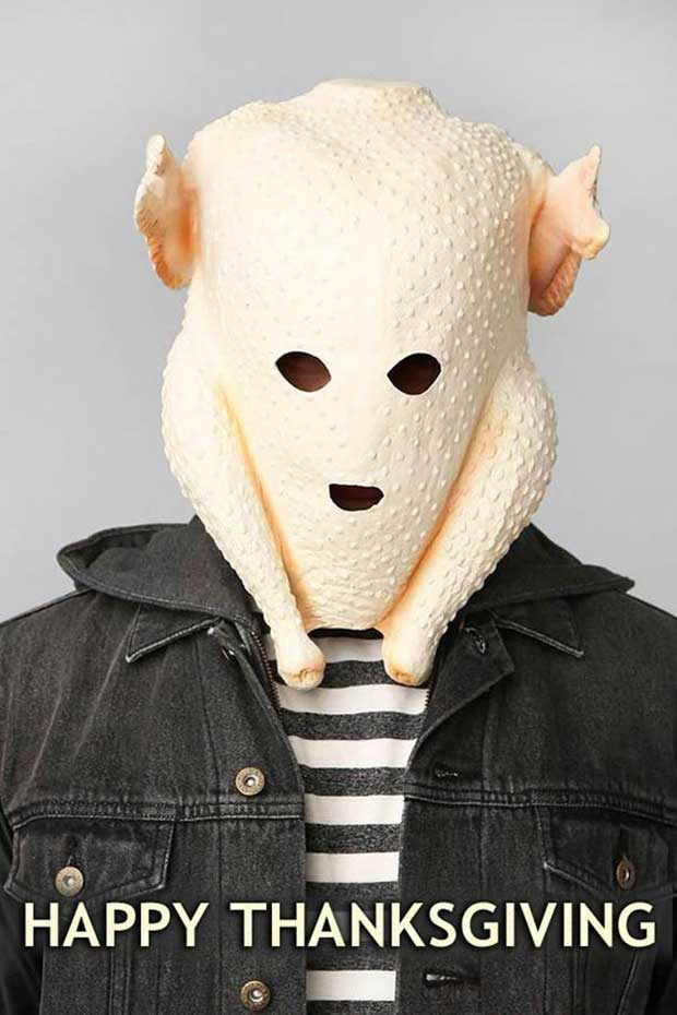 Happy Thanksgiving! ~ funny pics & memes ~ Man with turkey over his head