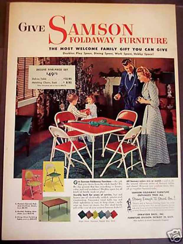 Vintage Christmas ad for Sampson Foldaway Furniture, folding chairs, card table. The most welcomed family got you can give.