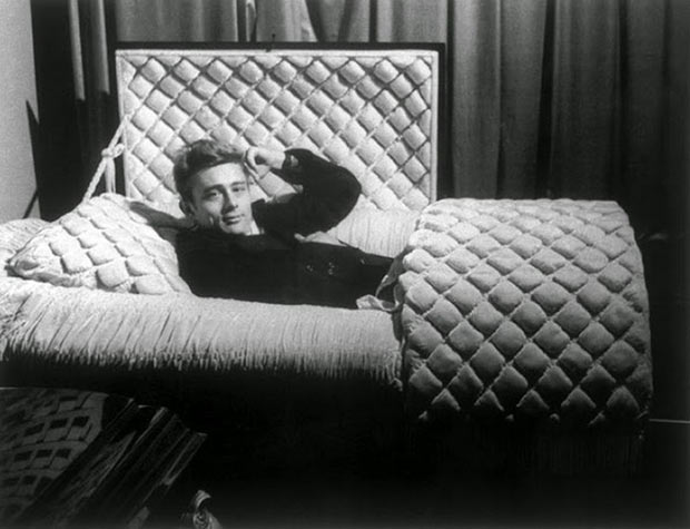James Dean posing in the coffin of a local undertaker in his home town in the year of his car crash and ensuing death, January 1955.