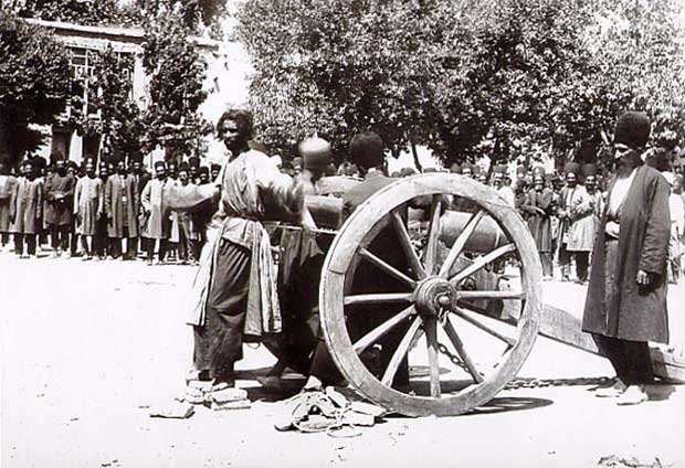 Execution by cannon, in Shiraz, Iran, mid-late 19th century. A lovely way to go.
