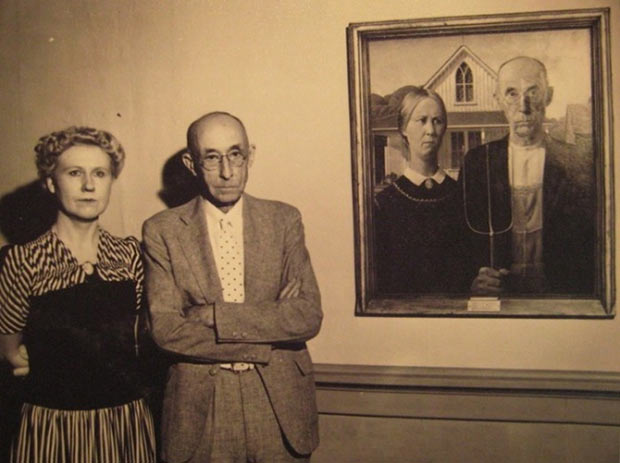 The models used for the painting American Gothic byGrant Wood, 1930.