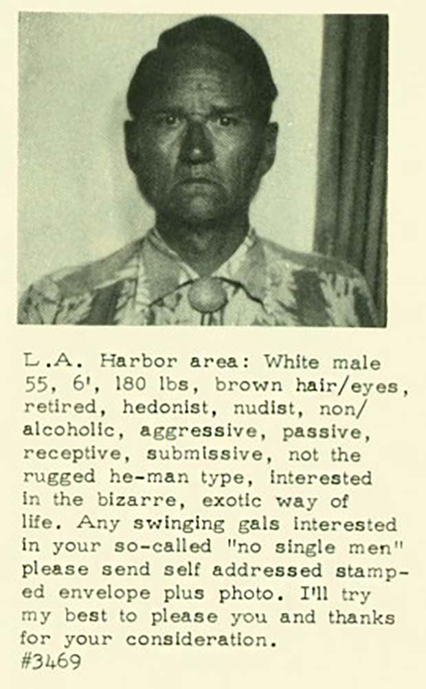 Swipe left ... ~ creepy vintage singles ad ~ vintage swinger from L.A. Harbor area