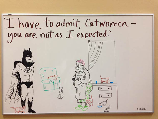 Batman and Catwoman dry erase board humor ~ funny pics and memes