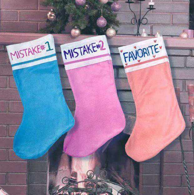 Yep, that's my family, too. ~ funny Christmas pics ~ Christmas stockings with names Mistake and Favorite