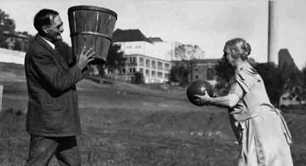 The inventor of Basketball, James Naismith, in the 1890s. He came up the game whileteaching physical education at the YMCA International Training School in Springfield, Massachusetts. Originally, the game just 13 rules and used peach baskets as hoops. Here he is practicing with his wife.