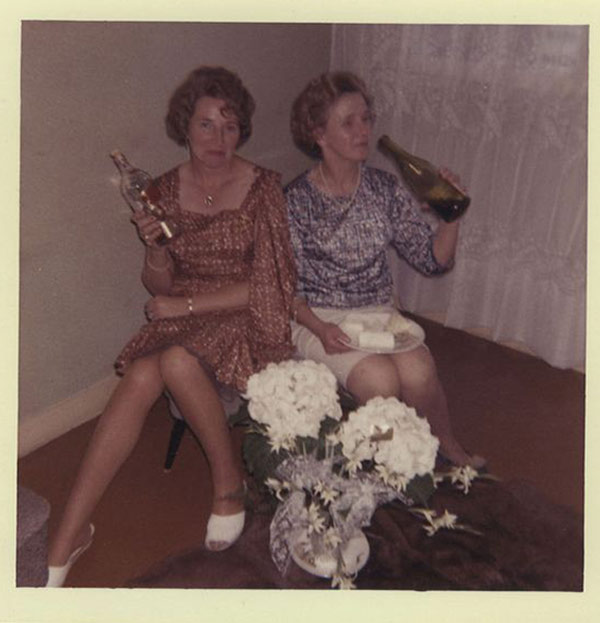Thankfully, Jill never had to drink alone when Connie was around. … ~.~ ... Funny Awkward family photos, vintage snapshots, holiday party