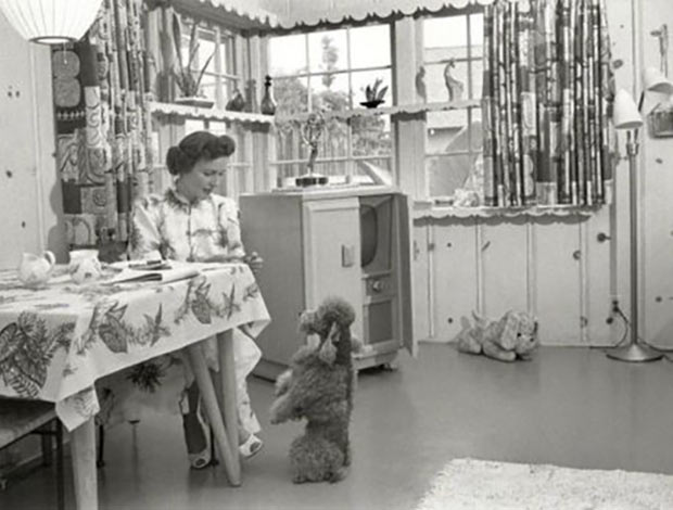 Actress Betty White at home with her dog in 1952.