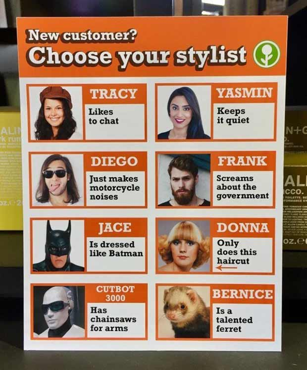 funny signs, choose your hair stylist... ... ~.~ funny pics, funniest memes