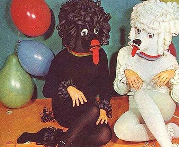 women in creepy poodle dog costumes vintage ads funny pictures