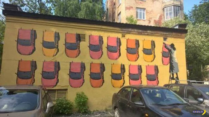 Hanging out the cars ~.~ funny pics, funny memes cool wall mural street art cars hanging on clothes line