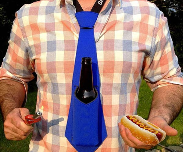 Beer holder neck tie ~.~ funny pics, funny memes