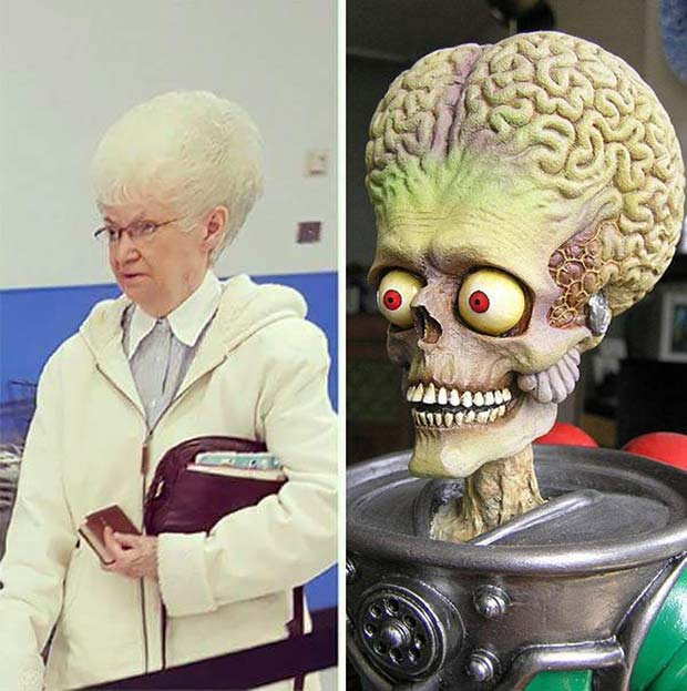 33 Funny Pics and Memes of the Day ~ Mars attack alien look alike woman funny hair