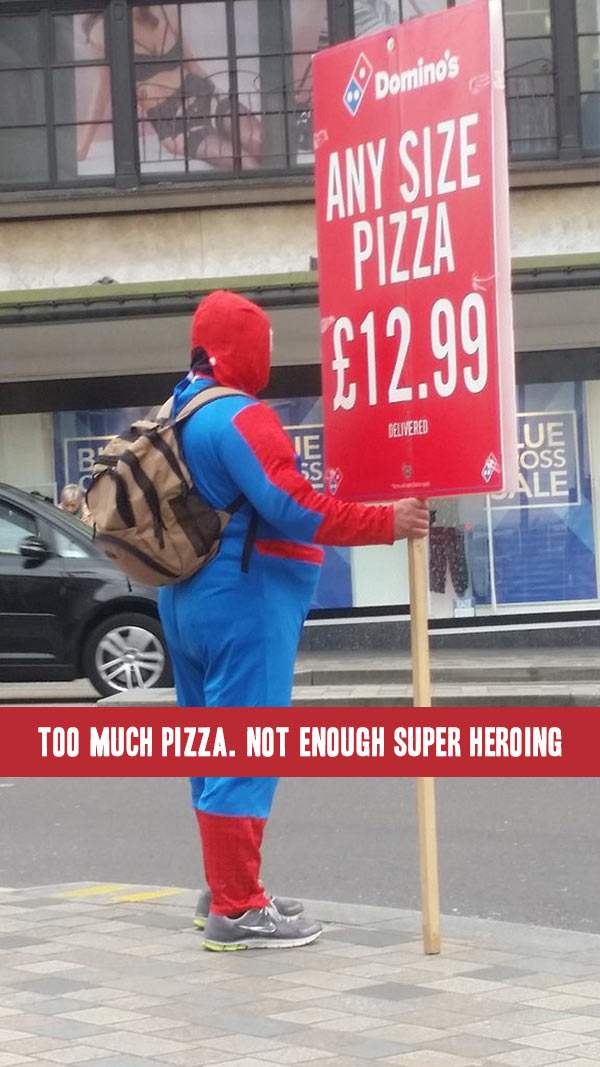 Funniest Memes of the Day ~ Fat man in Spiderman costume pizza